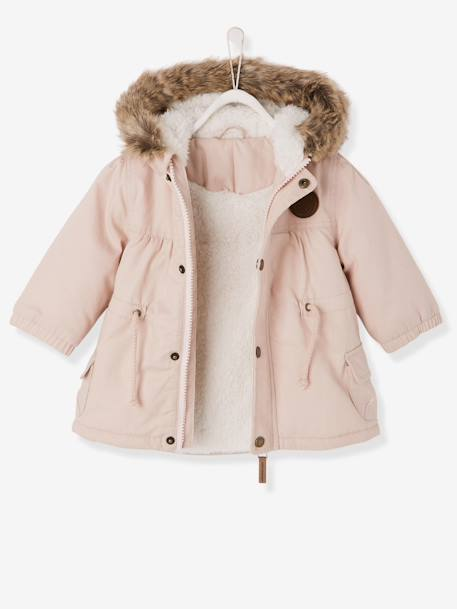 Baby Girls' Padded Parka with Lining PINK LIGHT SOLID