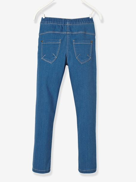 Girls' Denim Treggings BLUE DARK WASCHED+Untreated