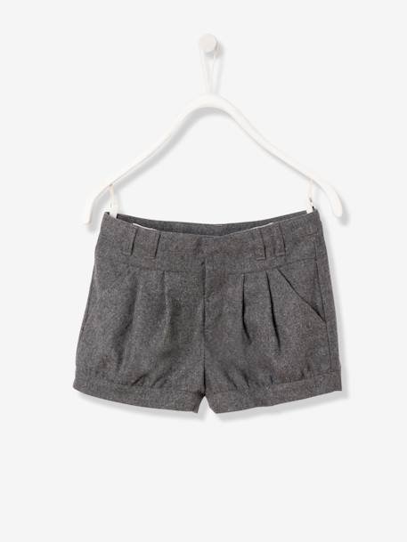 Girls' Wool Shorts GREY LIGHT SOLID
