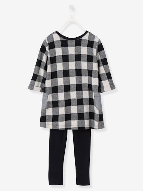 Girls' Dress & Leggings Set BLACK DARK CHECKS+GREY LIGHT MIXED COLOR+PINK MEDIUM SOLID WITH DESIG