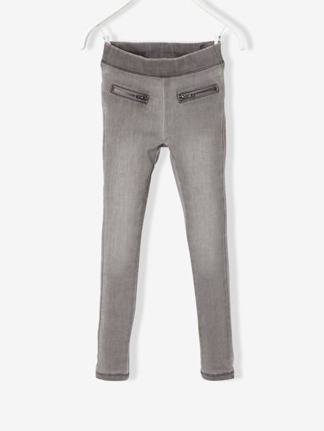 Girls' Fleece Jeggings BLUE LIGHT WASCHED+GREY MEDIUM WASCHED