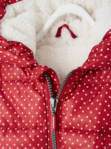 Baby Girls' Padded Jacket with Hood GREY LIGHT ALL OVER PRINTED+RED DARK ALL OVER PRINTED