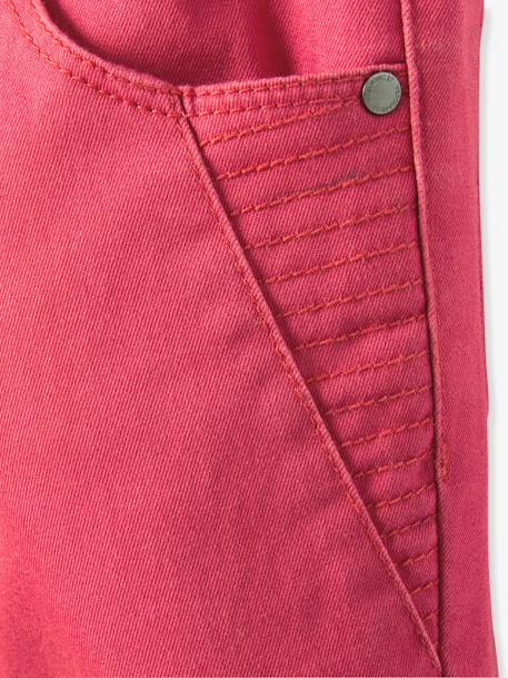 Girls' Indestructible Twill Slim Trousers BLACK DARK SOLID+GREEN DARK SOLID+PINK DARK SOLID