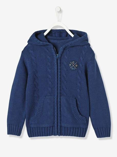 Boys' Lined Cardigan with Hood BLUE DARK MIXED COLOR