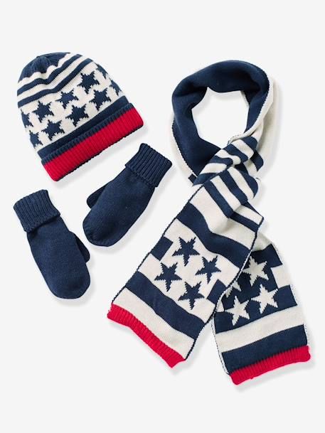 Boys' Beanie, Scarf & Gloves or Mittens BLUE DARK ALL OVER PRINTED
