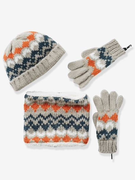 Boys' Snood, Beanie & Gloves BROWN MEDIUM ALL OVER PRINTED+WHITE LIGHT ALL OVER PRINTED