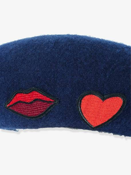 Girls' Beret with Patches BLUE DARK SOLID WITH DESIGN