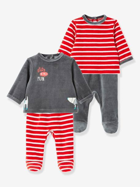 Pack of 2 Baby Two-Piece Pyjamas in Velour Fabric RED BRIGHT 2 COLOR/MULTICOL