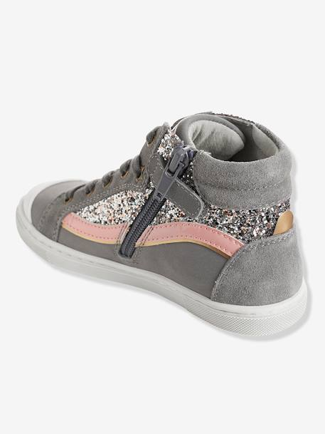 Girls' Leather High-Top Trainers with Glitter GREY MEDIUM SOLID WITH DESIGN+PINK MEDIUM SOLID WITH DESIG