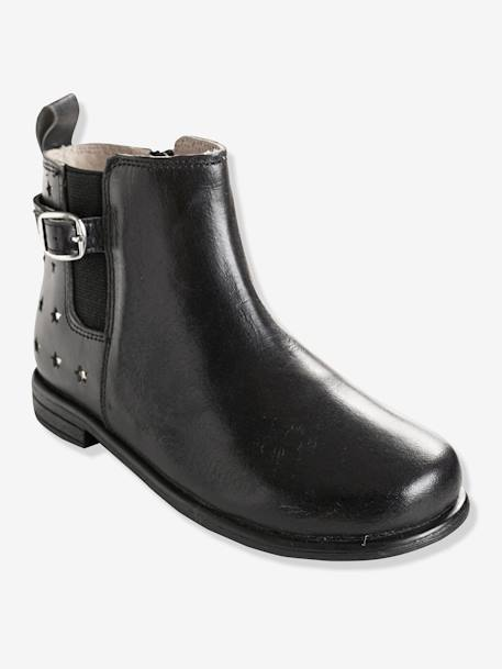 Girls' Bi-Material Boots BLACK DARK SOLID