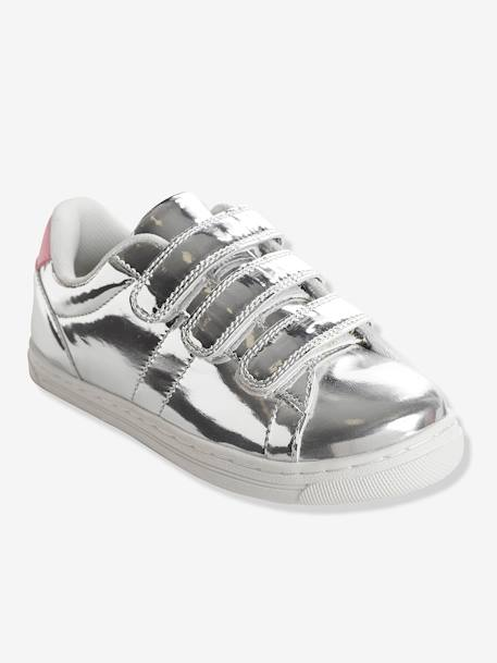Girls' Stylish Trainers with Touch 'n' Close Tabs GREY LIGHT SOLID+PINK BRIGHT ALL OVER PRINTED+WHITE LIGHT SOLID WITH DESIGN