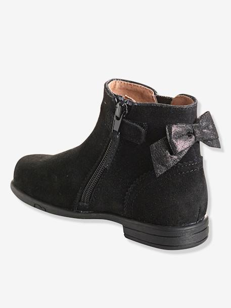 Girls' Leather Boots BLACK DARK SOLID+BROWN LIGHT SOLID+PINK LIGHT SOLID