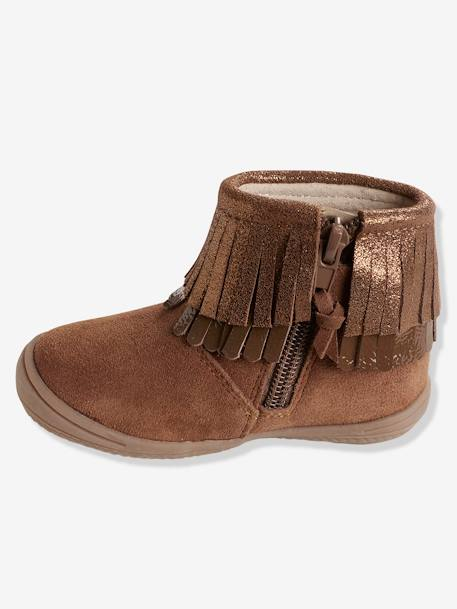 Girls' Leather Boots with Fringes BROWN MEDIUM SOLID