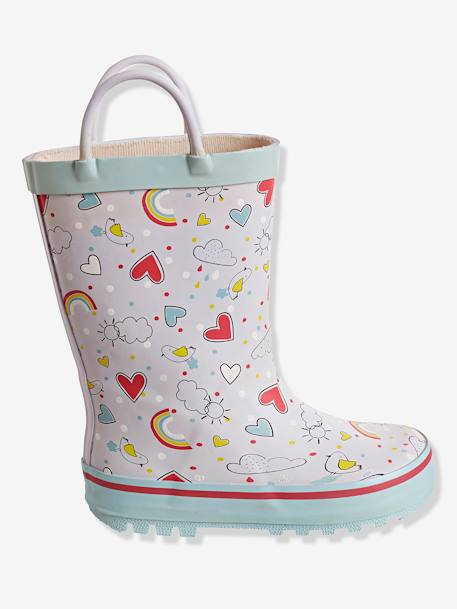 Girls' Wellies, Autonomy Collection WHITE LIGHT ALL OVER PRINTED