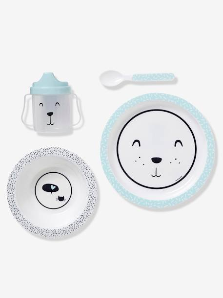 VERTBAUDET 4-Piece BPA-Free Meal Set BLUE LIGHT ALL OVER PRINTED+Pink / butterflies+YELLOW LIGHT ALL OVER PRINTED
