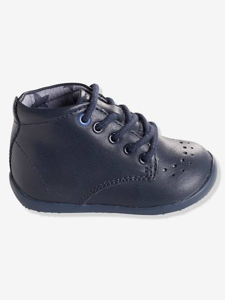 Boys First Steps Ankle Boots GREY MEDIUM  ALL OVER PRINTED+Navy