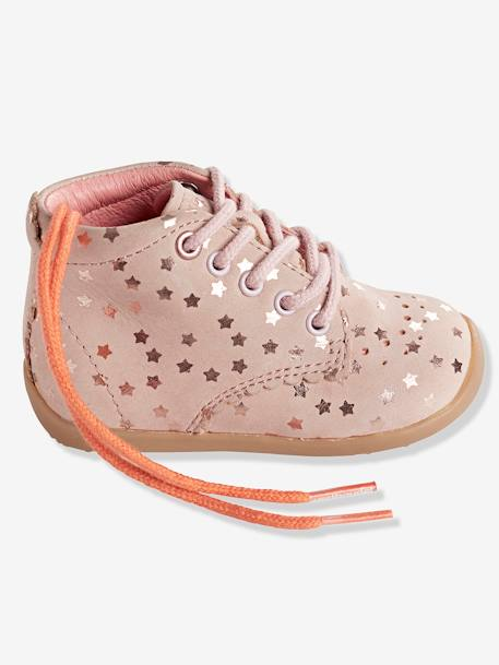 Baby Girls First Steps Ankle Boots PINK LIGHT ALL OVER PRINTED