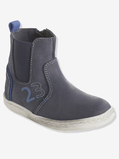 Boys' Leather Boots, Designed for Autonomy BLUE DARK SOLID