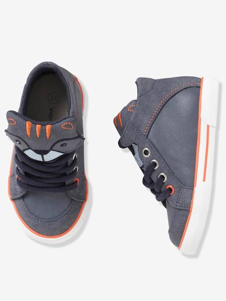 Boys' High-Top Trainers with Laces GREY MEDIUM SOLID