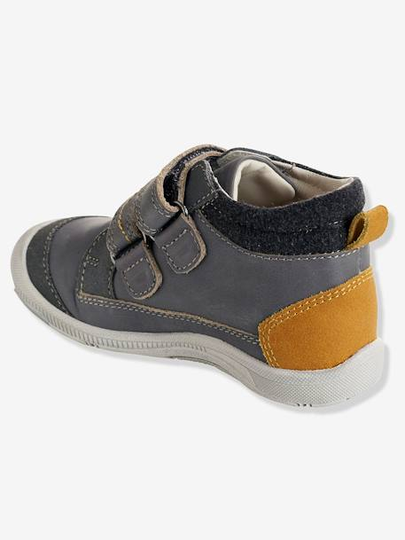 Boys' Leather Boots, Designed for Autonomy BLUE MEDIUM SOLID+GREY MEDIUM SOLID
