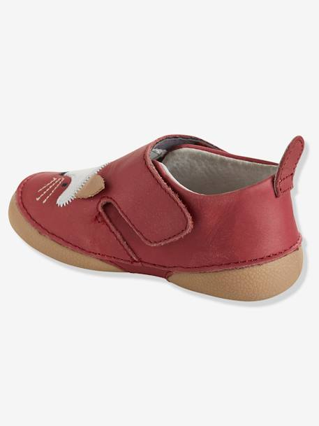 Baby Soft Leather Shoes GREY MEDIUM SOLID+RED MEDIUM SOLID