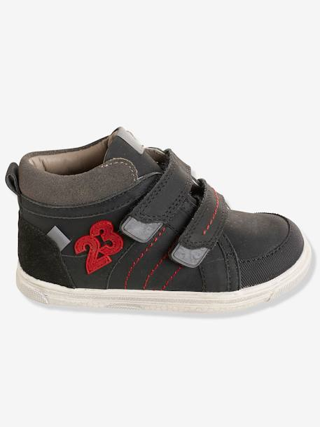 Boys' Leather High-Top Trainers, Autonomy Collection BLACK DARK SOLID+GREY DARK SOLID+RED DARK SOLID