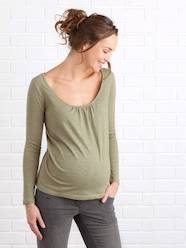 Maternity-T-shirts & Tops-Long-Sleeved Maternity T-Shirt, Embroidered on the Back