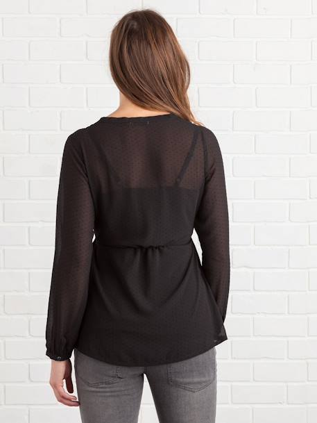 Maternity Dotted Blouse BLACK DARK ALL OVER PRINTED