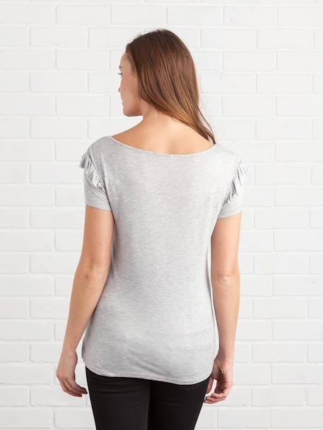 Maternity T-Shirt with Frilled Sleeves BLACK DARK SOLID+GREY LIGHT MIXED COLOR