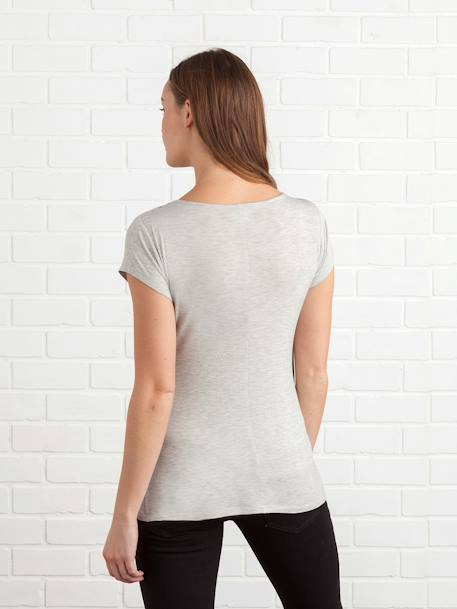 Maternity & Nursing Cross-Over T-Shirt Black+Grey marl