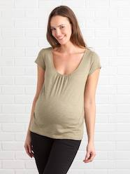 Maternity-T-shirts & Tops-Maternity T-shirt, Embroidered on the Back