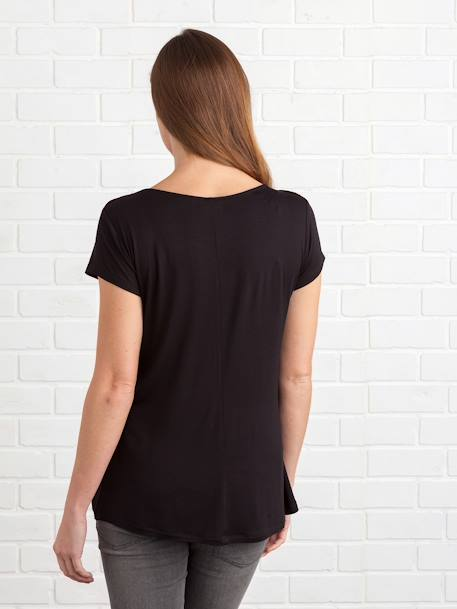 Adaptable Maternity & Nursing T-Shirt Black+Grey marl