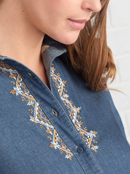 Embroidered Denim Maternity Shirt BLUE DARK WASCHED
