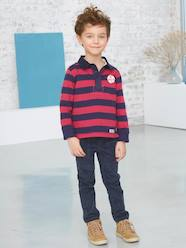 Boys-Boys' Striped Polo Shirt with Long Sleeves