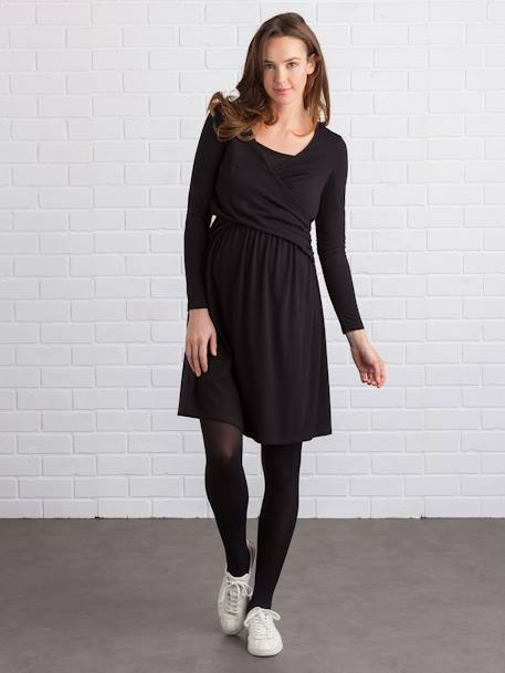 Adaptable Maternity & Nursing Dress Black+Navy print