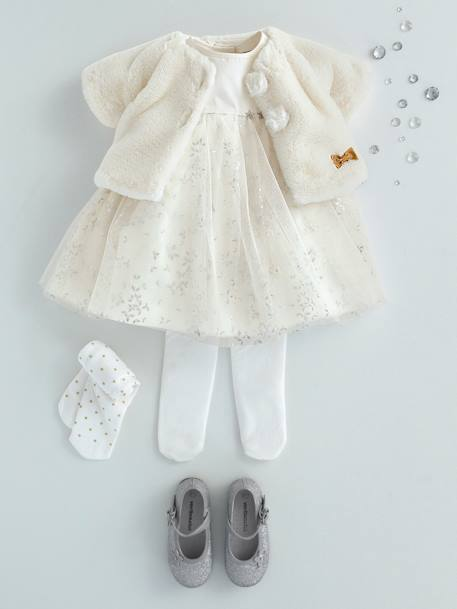 Baby Girls' Silvery Tulle Dress PINK LIGHT ALL OVER PRINTED+WHITE LIGHT ALL OVER PRINTED