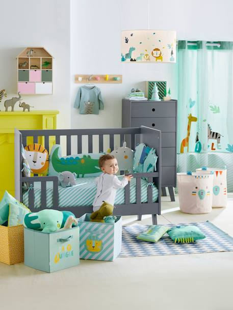 Adaptable Cot Bumper, Jungle Party Theme GREEN LIGHT ALL OVER PRINTED