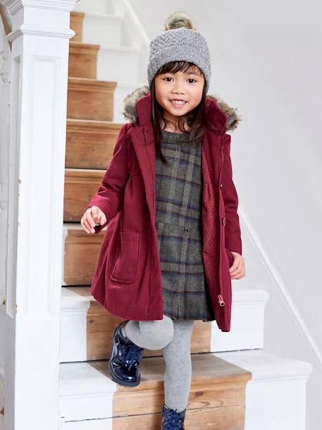Girls' Wool Coat BLUE DARK ALL OVER PRINTED+GREY DARK SOLID+RED DARK SOLID