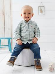 Baby Boys' Mandarin Collar Checked Shirt & Jeans Outfit Set