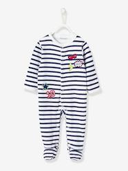 Baby-Pyjamas-Baby Velour Pyjamas, Front Press-Studs