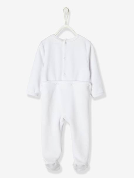 Baby Velour Pyjamas WHITE LIGHT SOLID WITH DESIGN