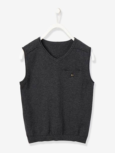 Boys' Waistcoat BLACK DARK SOLID+GREY DARK MIXED COLOR