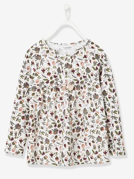 Girls' Blouse-Style T-Shirt GREY DARK ALL OVER PRINTED