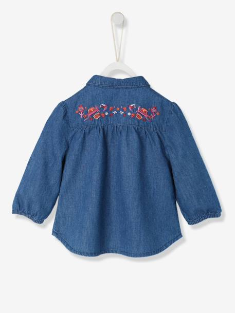 Baby Girls' Pure Cotton Denim Shirt BLUE DARK WASCHED