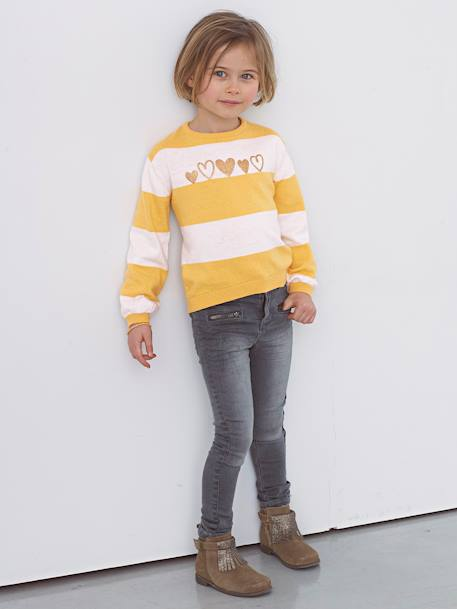 Girls' Jumper with Iridescent Detail BLUE DARK STRIPED+GREY DARK SOLID WITH DESIGN+RED LIGHT SOLID WITH DESIGN+WHITE LIGHT MIXED COLOR+YELLOW MEDIUM STRIPED