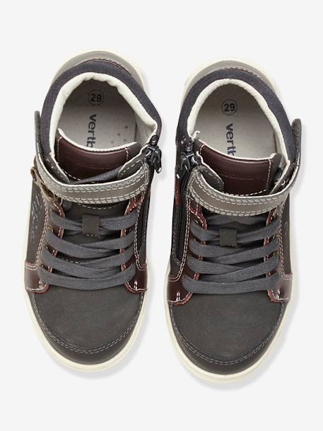 Boys Leather Trainers Storm grey