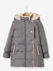Girls-Girls' Long Padded Jacket, Feather & Down Filling