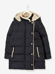 Girls' Long Padded Jacket, Feather & Down Filling