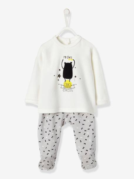 Pack of 2 Baby Two-Piece Velour Pyjamas WHITE LIGHT SOLID WITH DESIGN