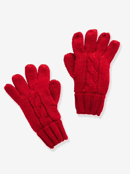 Boys' Gloves/Mittens GREY LIGHT MIXED COLOR+RED DARK SOLID